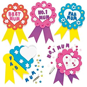 Children 39 s art mother 39 s day foam rosette craft badge kits for Mother s day craft kits