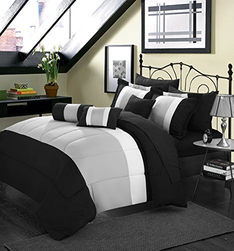 Chic Home Serenity 10-Piece Comforter Set, King Size, Black, Pillow Shams, Decorative Pillows And Sheet Set Included front-905811