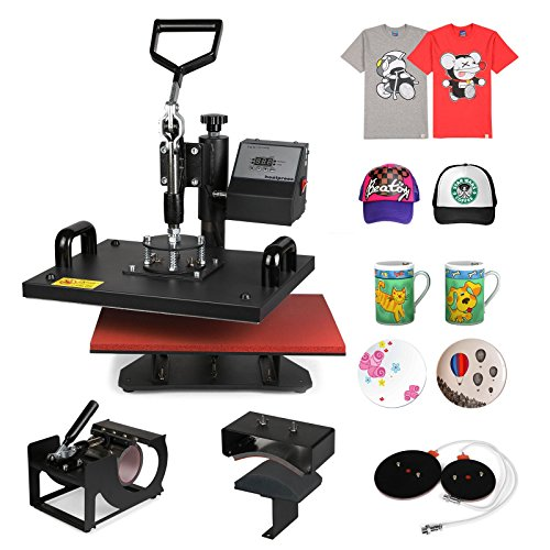 ShareProfit Heat Presses Hat Press Heat Press Machine for T Shirts Cup Mug 5 in 1 Multifunctional Transfer Sublimation T Shirt Press Machine (5 in 1) (Heat Transfer Press Hat compare prices)