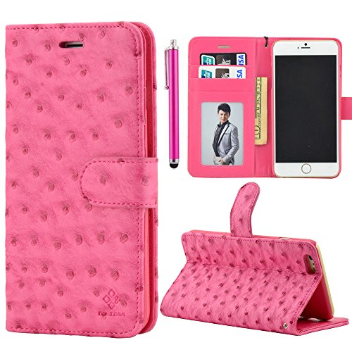 Luxury High Quality Iphone 6 Case Wallet Case For Apple Iphone 6 4.7 Inch Case Ostrich Leather Case Stand Cover Built-In Credit Card Id Holders And Black Strip + Free Screen Protector & Stylus Pen (Hot Pink)