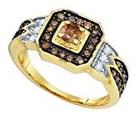 0.68 cttw 10k Yellow Gold Cognac Diamond Round Brilliant Cut White and Chocolate Brown Diamond…