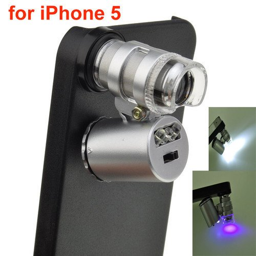 Leegoal 60X Zoom Led Cell Phone Mobile Phone Microscope Micro Lens For Apple Iphone 5 5G
