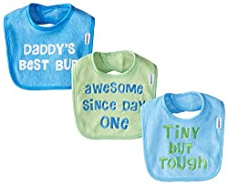 Gerber Baby-Boys Newborn 3 Pack Terry Bib with Sayings Blue, Blue, One Size