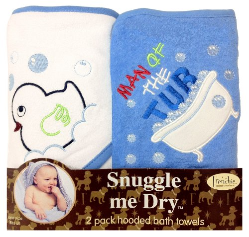 """Man of the Tub"" Hooded Bath Towel Set, 2 Pack, Frenchie Mini Couture"