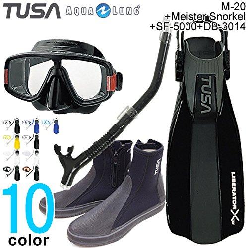 軽器材4点セット M-20マスク+マイスターレギュラースノーケル+SF-5000フィン+DB-3014ブーツ セット TUSA+アクアラング 27cm BK+MTBK+BK