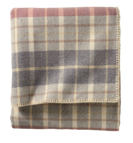 Pendleton Eco-Wise Wool Washable Twin Blanket, Blush/Grey Plaid front-782263