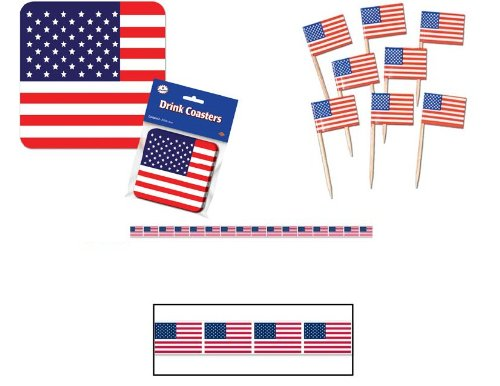 PATRIOTIC USA Flag Fourth of JULY DECORATIONS/Drink COASTERS APPETIZER PICKS/PARTY TAPE/Streamer/UNITED STATES PARTY DECOR/Stars/STRIPES/US/AMERICA