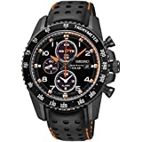 Seiko Sportura Solar Chronograph Black Dial Black Leather Strap Mens Watch SSC273