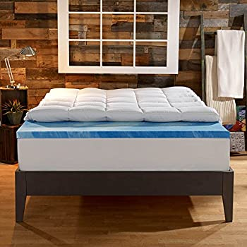 Sleep Innovations 4-Inch Dual Layer Mattress Topper - Gel Memory Foam and Plush Fiber. 10-year limited warranty. King Size