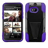 HTC One M8 Premium Heavy- Duty KickStand Design Protector Hard Cover Case (For 2014 HTC New Flagship Android Phone) + Car Charger + Screen Protector Film + Car Charger + 1 of New Assorted Color Metal Stylus Touch Screen Pen (PURPLE / BLACK)