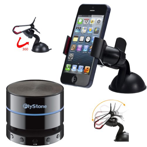 Flystone® Universal Dashboard Windshield Car Mount For Smart Phones + Portable Wireless Bluetooth 4.0 Speaker (Fully Backward Compatible) Mini Speaker With 3.5Mm Aux Port, Built In Speakerphone 10 Hour Rechargeable Battery And Enhanced Bass Resonator Boos