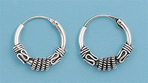 Sterling Silver Bali Hoop Earring