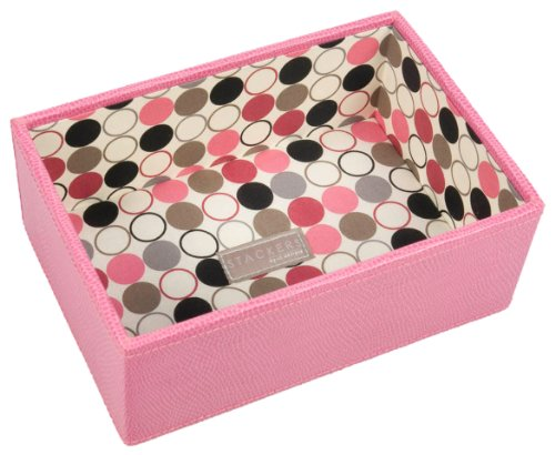 Pink Deep Open Mini Stacker With Polka Dot Lining