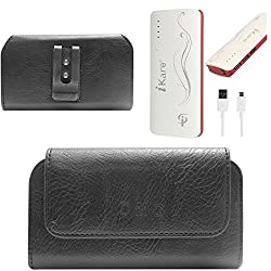 DMG Premium PU Leather Cell Phone Pouch Carrying Case with Belt Clip Holster for Lenovo P70 (Black) + 10000 mAh Power Bank
