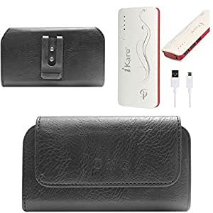 DMG Premium PU Leather Cell Phone Pouch Carrying Case with Belt Clip Holster for Moto G (Black) + 10000 mAh Power Bank