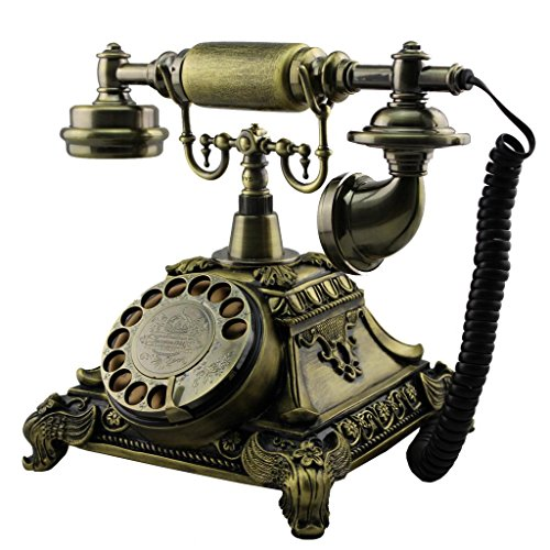 Bronze Ms-5501b Retro Vintage Antique Style Rotary Dial Desk Telephone Phone Home Living Room Decor