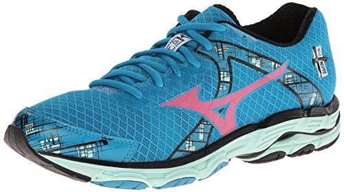Mizuno Wave Inspire 10 Running Shoe,Caribbean Sea/Shocking Pink/Honeydew,8 B US