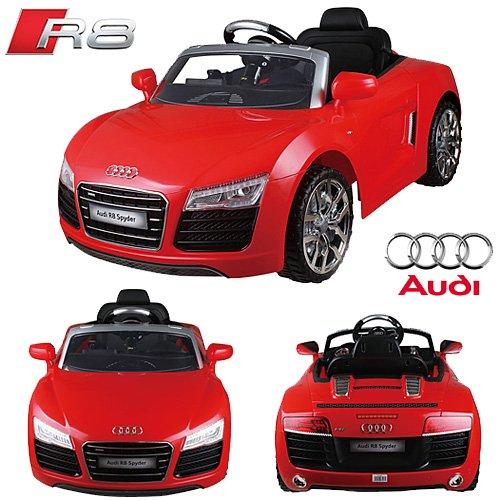 Original AUDI R8 V10 Spyder Licence **2x MOTEURS** - Voiture / Véhicule électrique 12V pour Enfant avec TÉLÉCOMMANDE Porteur Vélo (Rouge)