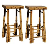 Home Style BABBS2 2-Piece Outdoor Bamboo Bar Stool Set