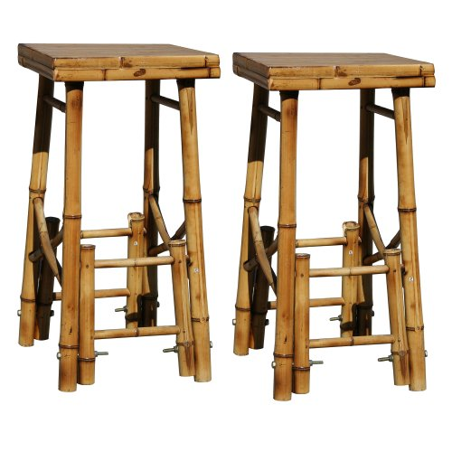 Homestyle BABBS2 2 Piece Outdoor Bamboo Bar Stool Set