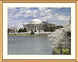 Cherry Trees and the Jerrerson Memorial in Spring Photograph - Beautiful approx. 25x29-inch Framed & Matted - 1 1/2-inch Antique Style Gold Frame - Photographic Print by Carol M. Highsmith
