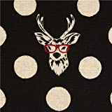 echino canvas fabric Buck stag with glasses black by Kokka