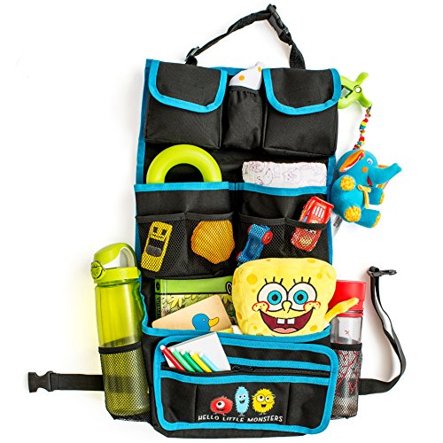 Backseat Car Organizer by Hello Little Monsters - Kids Toy Car Storage - Travel Accessories for Baby - Child Car Seat Protector - Perfect for Baby Shower Gift - Must Have Interior Car Accessories (For Car Seats compare prices)