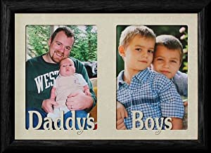 7x10 DADDY'S BOYS ~ Two Opening BLACK Frame ~ Holds two 4x6 or cropped 5x7 Photos ~ Great Christmas, Birthday or Father's Day Gift for Dad!