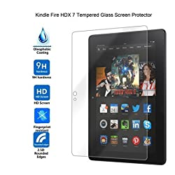 Riipoo(TM) HDX 7(2014 Version) Tempered Screen Protector, Premium Shatter Proof Crystalline Tempered Glass Screen Protection for HDX 7, 9 H Hardness, 0.3mm Thickness,Made From Real Glass, Shatterproof, High Definition Clear T