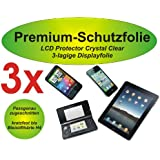 3x Premium-Schutzfolie - kratzfest bis H4! - crystal clear - Samsung Galaxy Tab 3 8.0 - SM-T310 - T311 - T315 - 3-lagig! - kristallklar - Display Schutzfolie - Displayschutzfolie