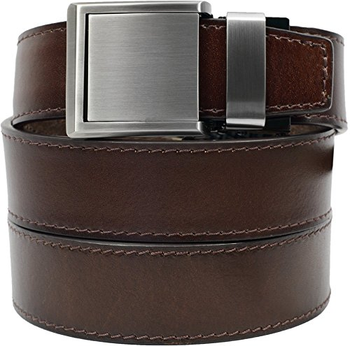 Chocolate Leather with Square Silver Buckle