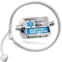 Charm Set Medical Alert Blue Allergy Alert 1 Carry an Epipen - Bead comes with Bracelet , Neonblond by NEONBLOND