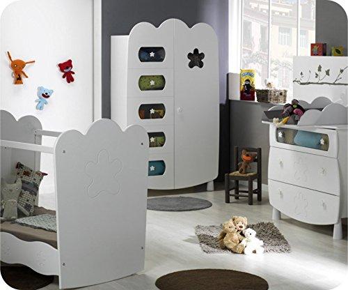 Babyzimmer komplett Linea weiß mit Babybett mit durchsichtigen Seiten