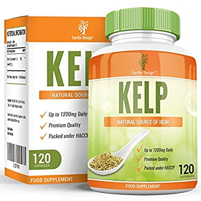 Earths Design Kelp, Potent Source of Iodine, Rich in Vitamins and Minerals, Regulates Thyroid Functioning and Metabolism, High Strength Supplement, 600 mg, 120 Capsules