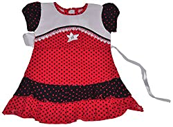 Be BeBo Girl's cotton Regular Fit Dress (539, Red, 18-24 months)
