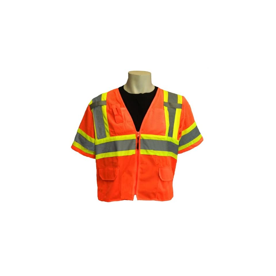 Global Glove GLO 147 FrogWear Class 3 Front Mesh Safety Vest with 3M Reflective Fabric, 4X Large, Orange (Case of 50)