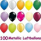 Toy - 100 Luftballons in Metallic Farben Buntmix 11/26cm [Spielzeug]
