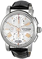 Montblanc Star Silver Dial Chronograph Black Leather Automatic Mens Watch 105856 by Montblanc