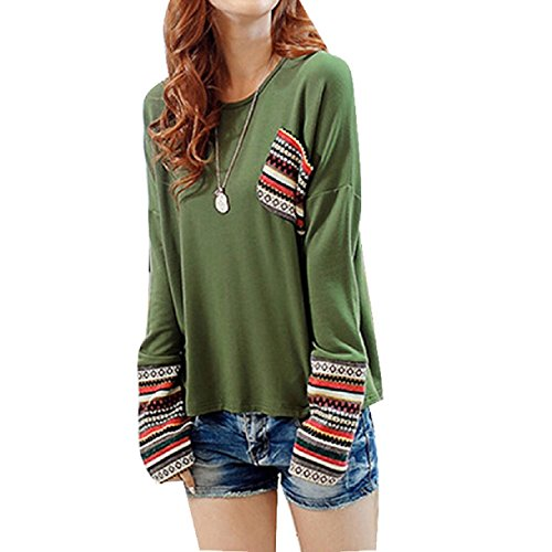 Sannysis Womens Long Sleeve Round Neck Loose Shirt Blouse Tops (M, Green) (Hippie Clothing compare prices)
