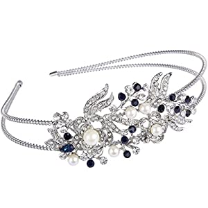 Ever Faith Silver-Tone Austrian Crystal Cream Simulated Pearl Flower HeadBand Blue N04447-2
