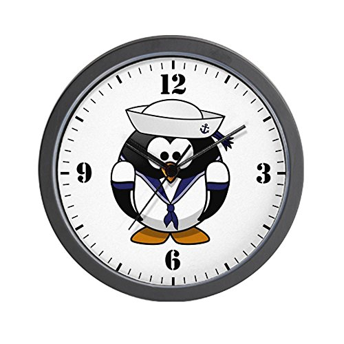 Wall Clock Little Round Penguin - Navy Sailor