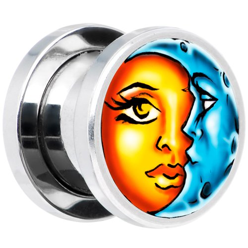 00 Gauge Steel Celestial Sun and Moon Screw Fit Plug