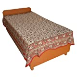 Block Printed Floral Bagru Print Design Cotton Flat Single Bed Sheet - B00GSSPJ68