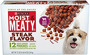 Moist & Meaty Steak Flavor Dog Food, 12-Count (6-Ounce) Pouches (Pack of 6)