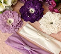 5 Piece White Purple and Lavender Unique Flower Clip and Headband Set (Interchangeable)