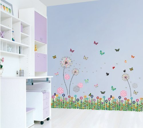 Walplus Dandelion Girl Butterflies Love Wall Sticker, Pink