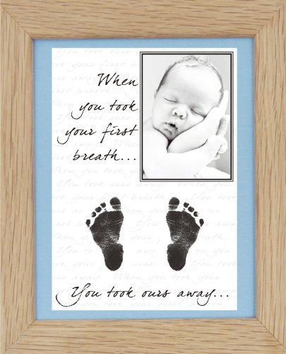 Babyrice New Baby Hand And Footprint Kit With Display Photo Frame - Your Baby'S Handprints! **Choice Of Frames Available On This Listing** (Ours: Solid Oak / Blue Mount)