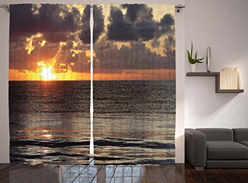 Ambesonne ocean decor collection sunrise cloudy sky colorful cancun picture print window - Epic window treatment decoration with slate blue curtain ...