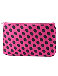 Uxcell Lady Dots Pattern Makeup Cosmetic Bag Organizer Red Black