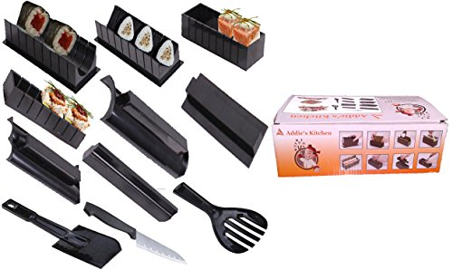 Addie's Kitchen 11 Piece Sushi Maker Set Including Sashimi Knife Rice Spoon And Paddle